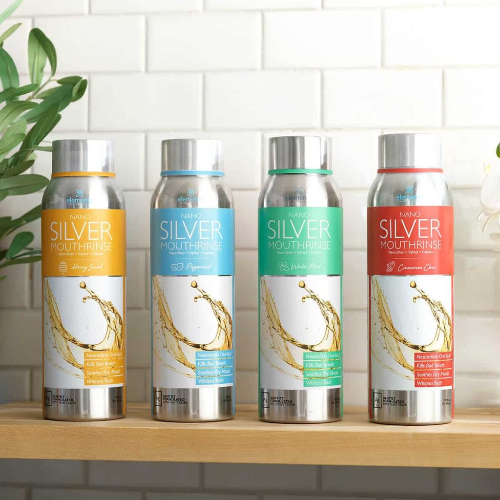 four bottle with all of Elementa Silver's mouth rinse flavors