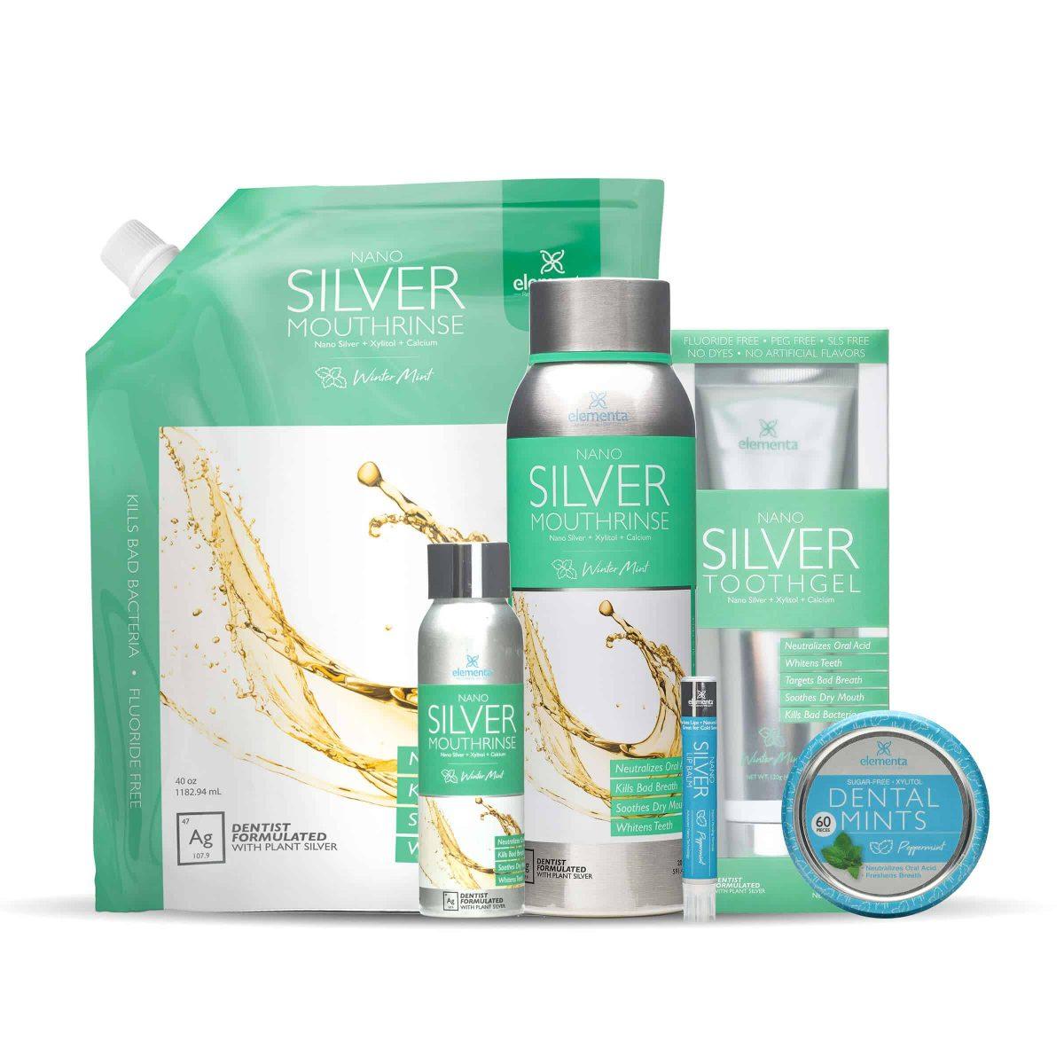 nano silver mouth rinse full routine winter mint peppermint bundle