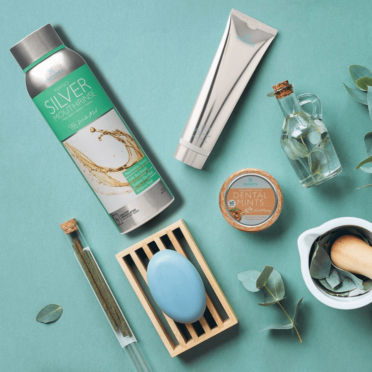 natural photo of dental products from Elementa Silver on table in winter mint