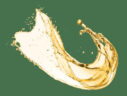 image of splashing gold liquid of nano silver mouth rinse