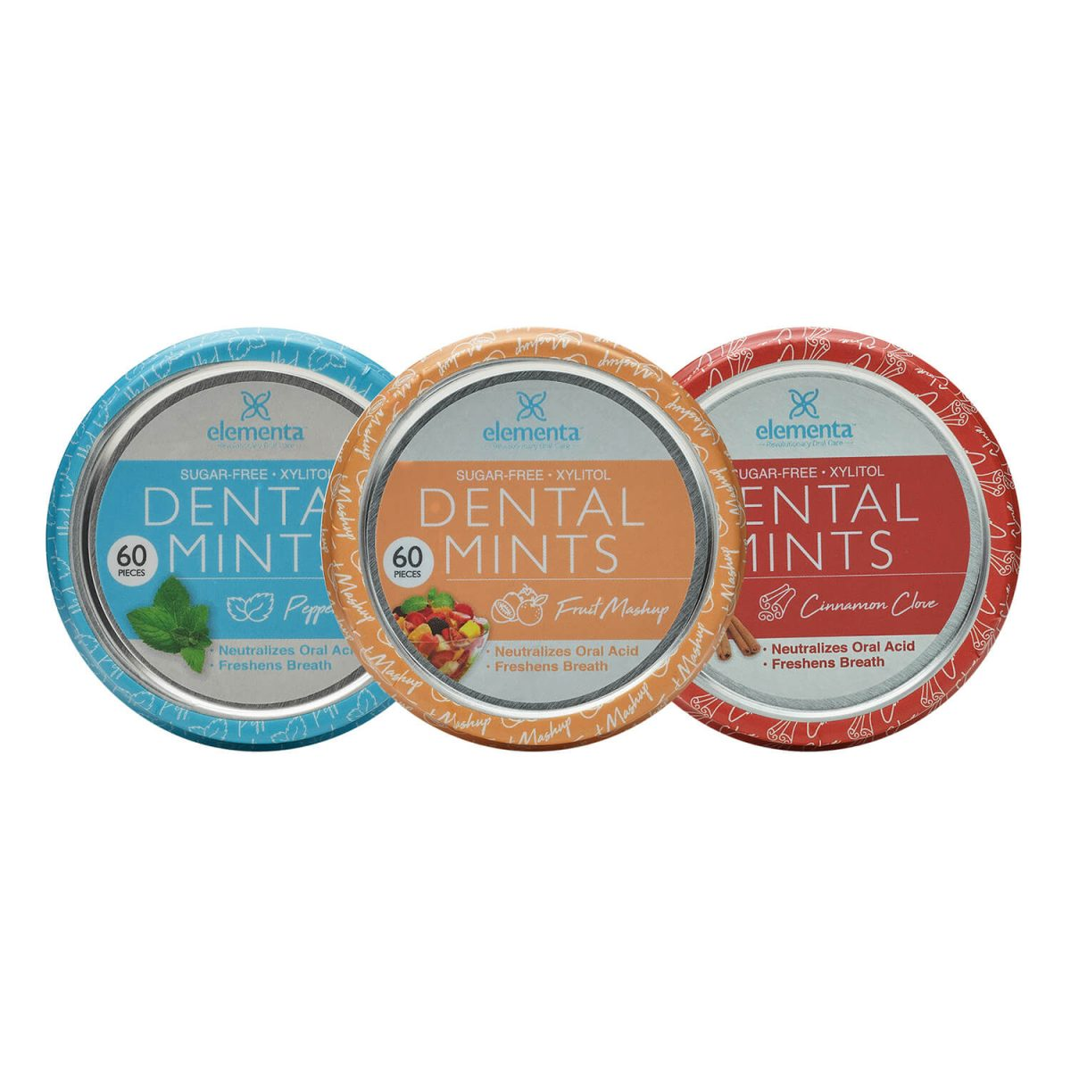 image of three different flavors of Elementa Silver dental mints